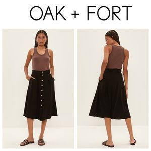 NWT Oak+Fort Black Linen Blend Buttoned Maxi Skirt